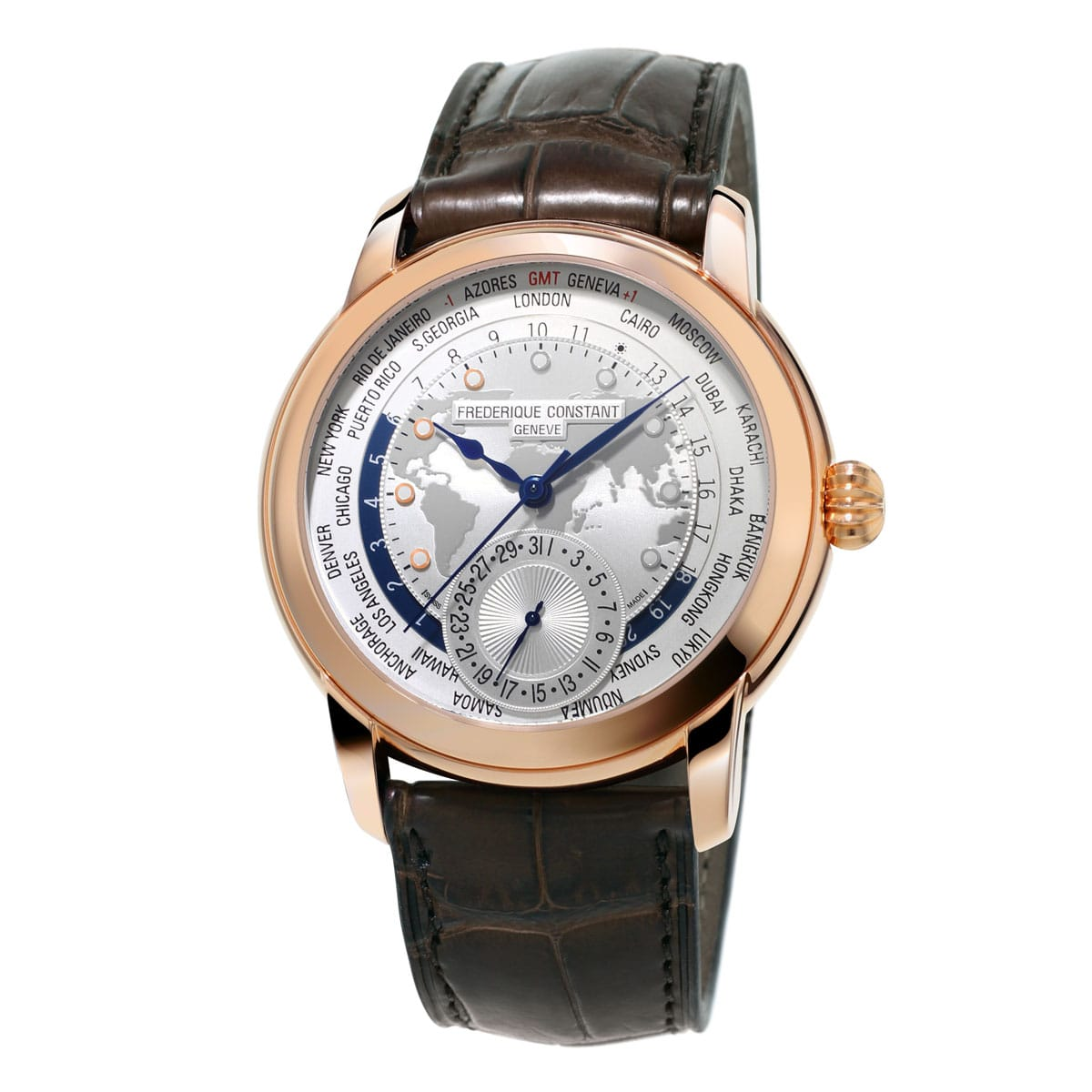 Frederique-Constant-Manufacture-Worldtimer-FC-718WM4H4 Lionel Meylan Horlogerie Joaillerie Vevey