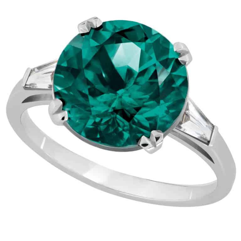 Lionel Meylan Créations - Bague sertie d'une tourmaline verte et diamants