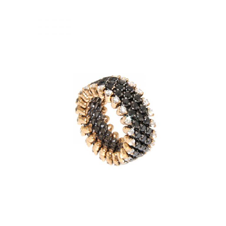 Serafino Consoli - Bague Bevetto Diamants Noirs