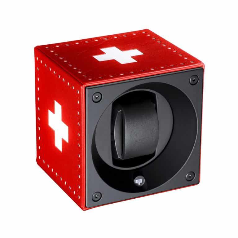 Swiss Kubik - Remontoir en cuir rouge