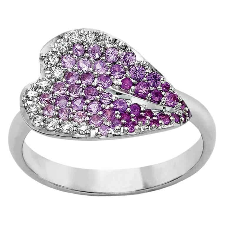 Lionel Meylan Créations - Bague Sakura, sertie de diamants et saphirs rose
