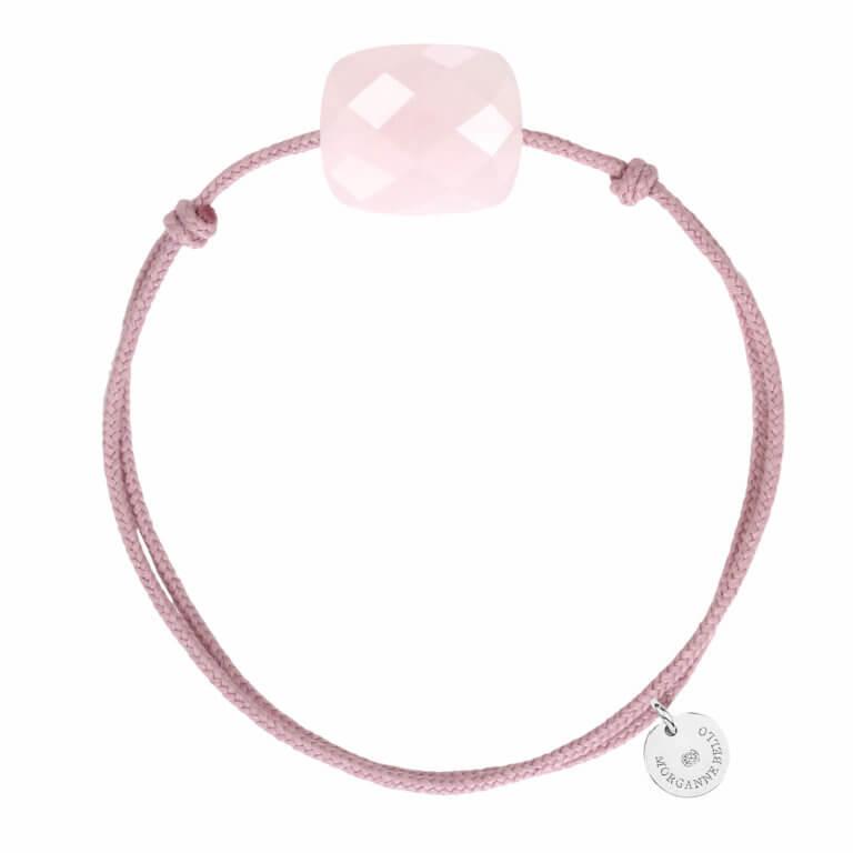 Morganne Bello - Friandise Oversize Bracelet cordon rose et coussin quartz rose