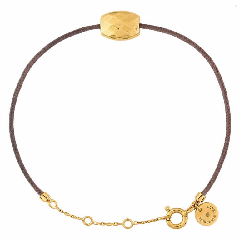 Morganne Bello - Pépite Bracelet cordon taupe et coussin en or jaune