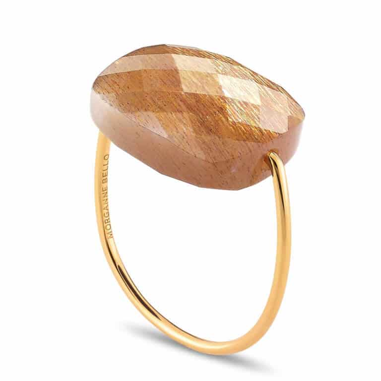 Morganne Bello - Yellow gold with oversize sunstone cushion ring