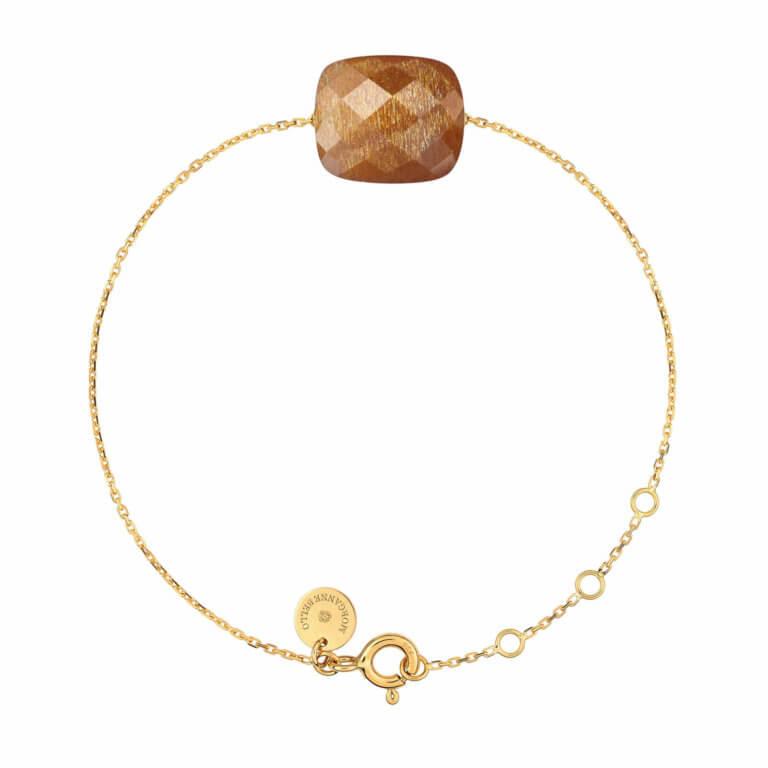 Morganne Bello - Friandise Oversize Bracelet or jaune coussin pierre de soleil