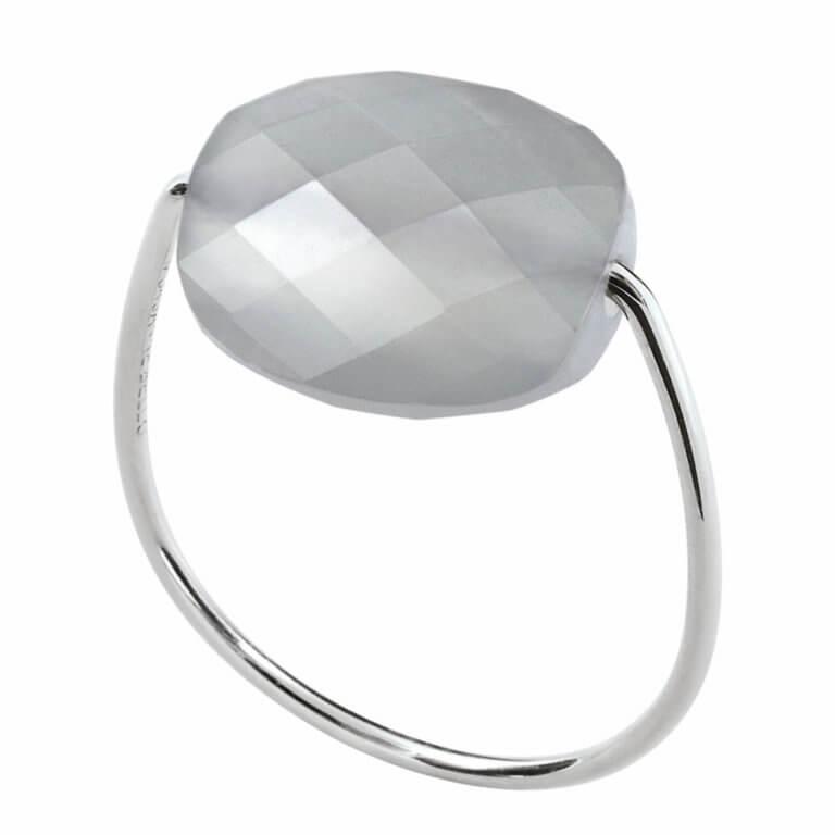 Morganne Bello - Friandise white gold ring cushion gray moonstone