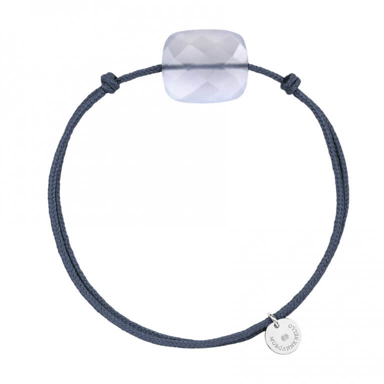 Morganne Bello - Friandise Oversize blue cord bracelet and jeans with chalcedony