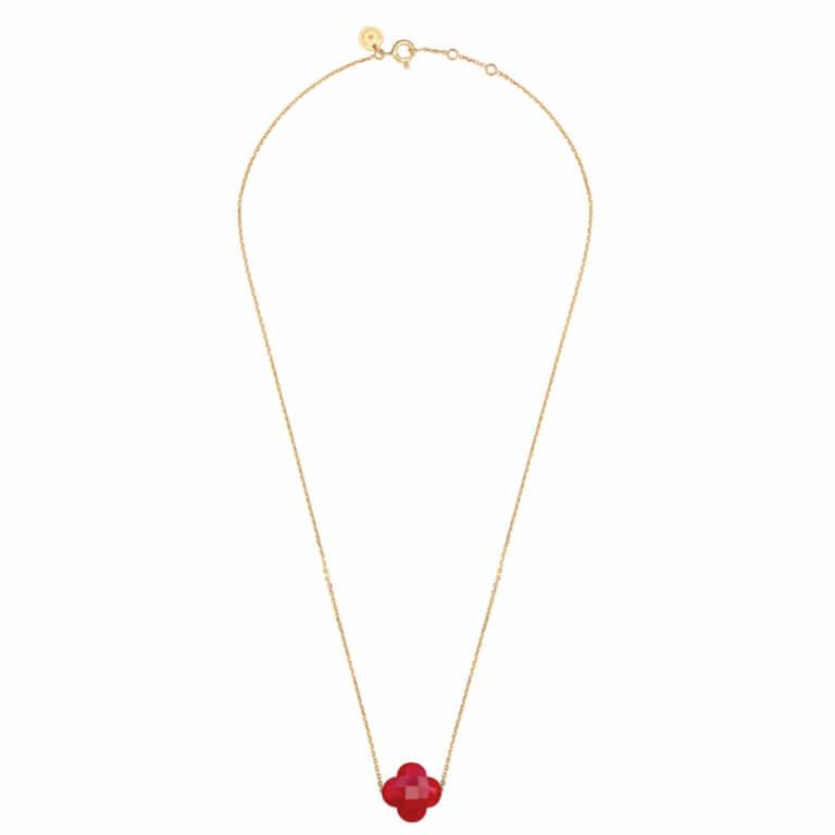 Morganne Bello - Friandise trèfle collier or jaune avec trèfle quartz rouge