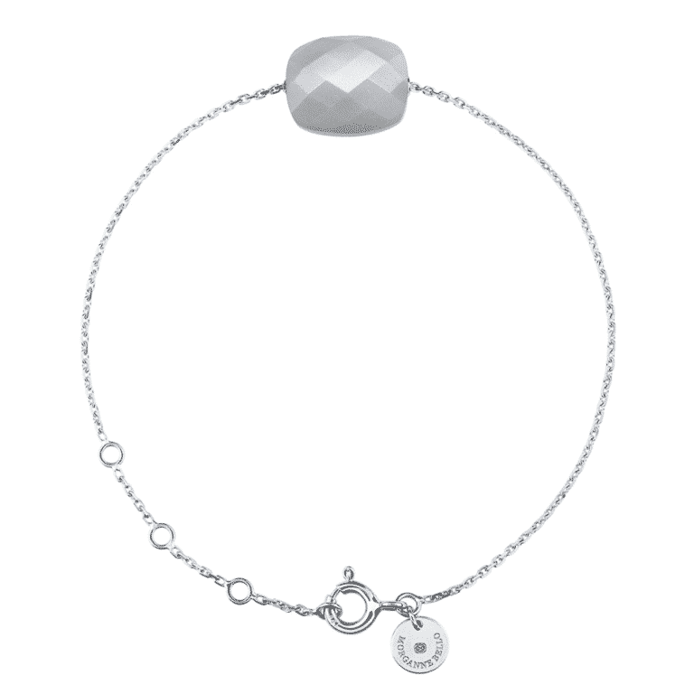 Morganne Bello - Cushion treat bracelet in 750 white gold with a moonstone