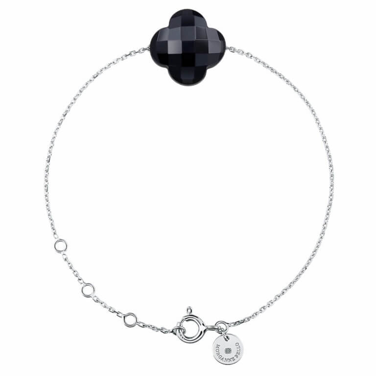 Morganne Bello - Clover candy bracelet in white gold with Onyx stone