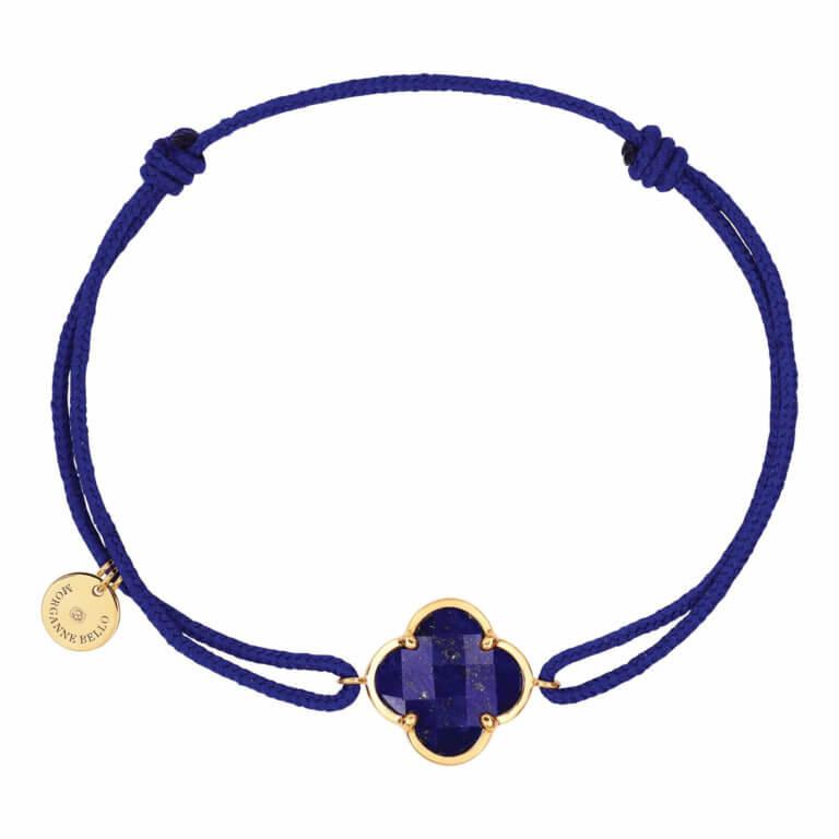Morganne Bello - Victoria, blue cord bracelet with lapis lazuli clover motif, yellow gold entourage