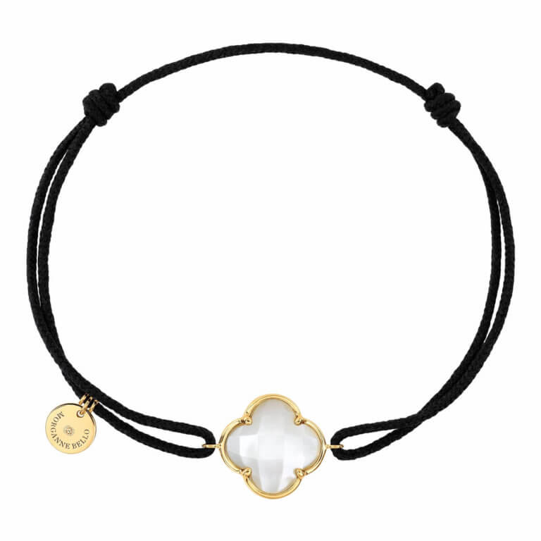 Morganne Bello - Victoria, black cord bracelet with white mother-of-pearl clover motif, yellow gold entourage