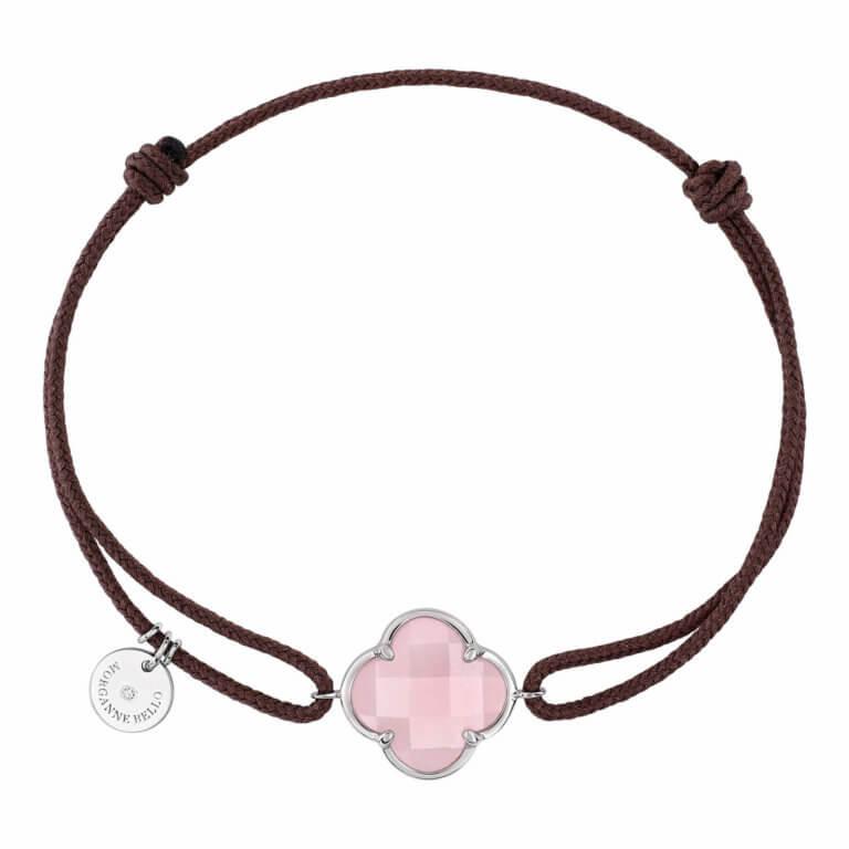Morganne Bello - Victoria, taupe cord bracelet with pink quartz clover motif, white gold entourage
