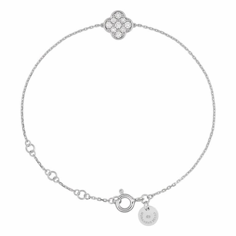 Morganne Bello - Precious Gardens, white gold bracelet, clover pattern set with diamonds