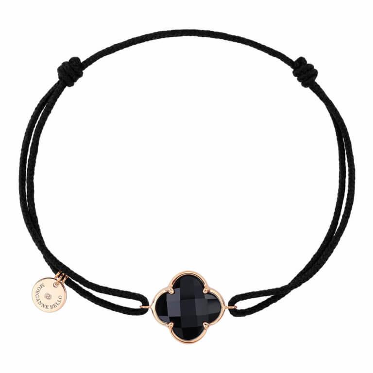 Morganne Bello - Victoria, black cord bracelet with onyx clover motif, rose gold entourage