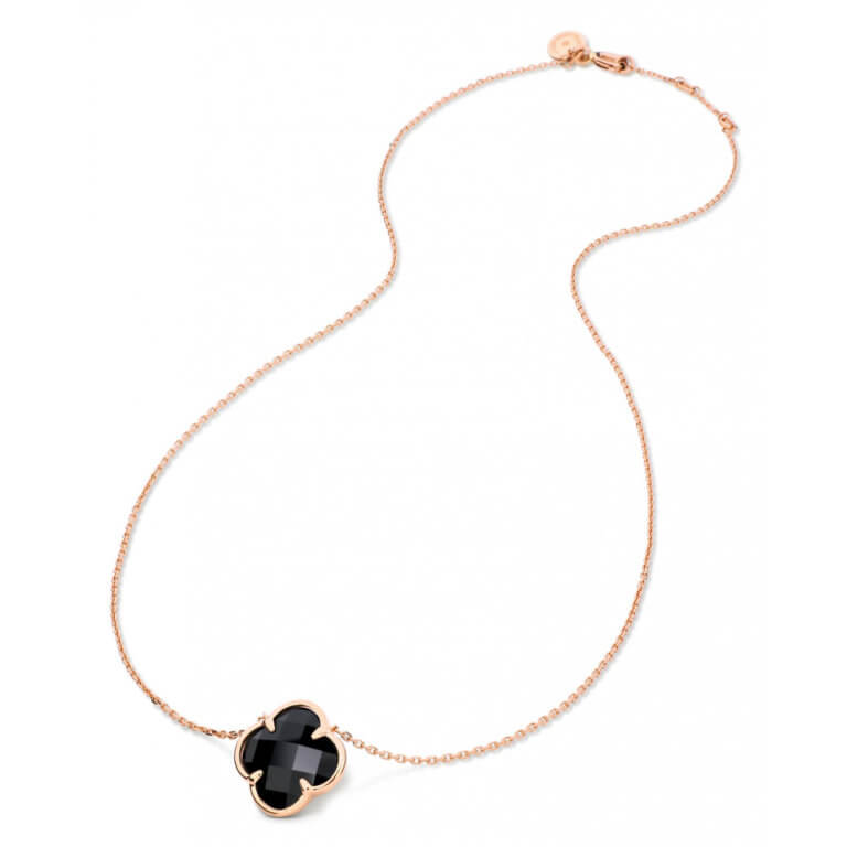 Morganne Bello - Victoria, 750 rose gold corset necklace set with an onyx clover