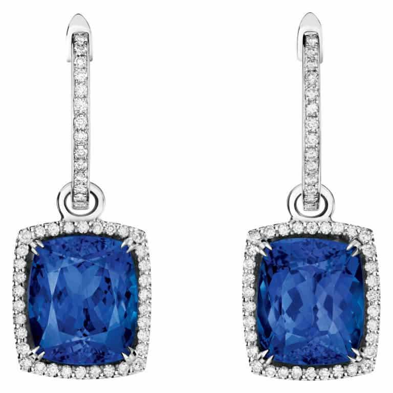 Lionel Meylan Créations - Boucles d'oreilles pendantes serties de tanzanite et diamants