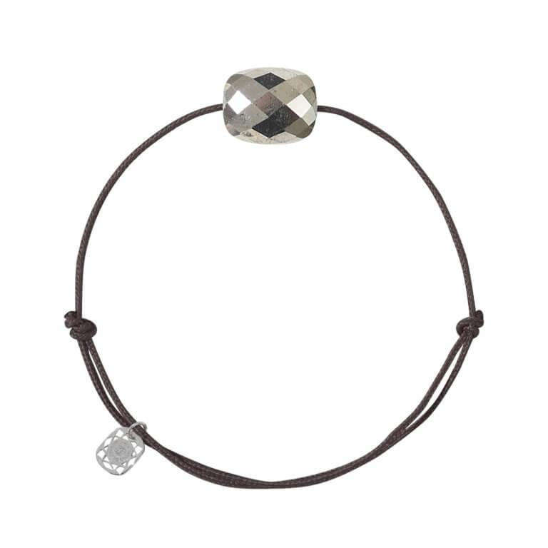 Morganne Bello - Friandise Bracelet sur cordon chocolat avec coussin Pyrite