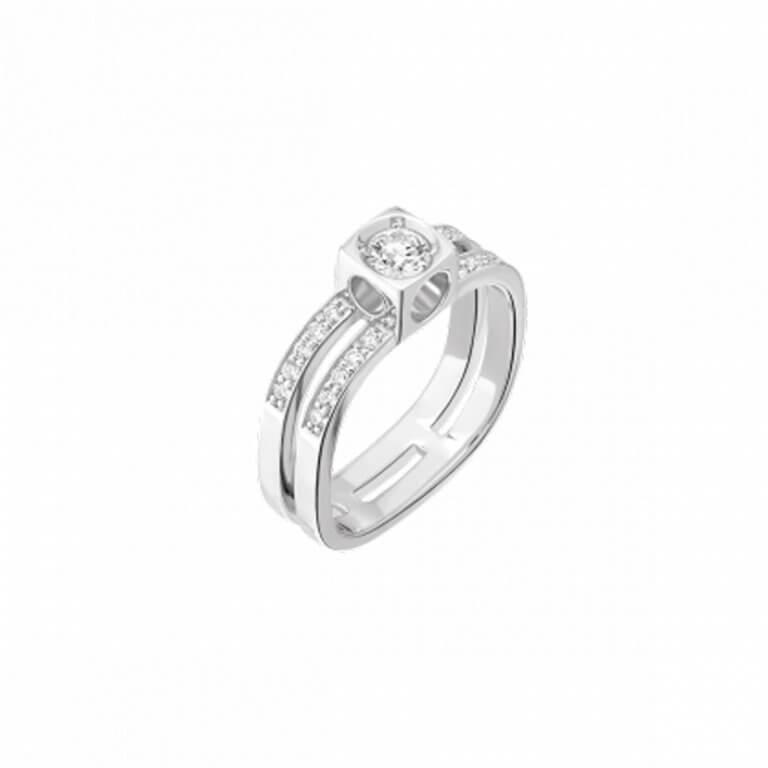 dinh van - Bague Le Cube en or blanc sertie de un diamant et vingt diamants