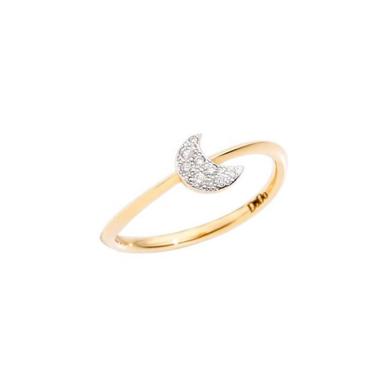Dodo - Rêves mini model ring in 750 yellow gold with moon motif set with diamonds