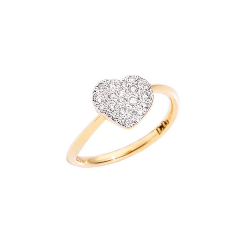 Dodo - Amour bague grand modèle en or jaune 750 avec motif coeur serti de diamants