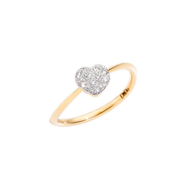 Dodo - Amour bague mini modèle en or jaune 750 avec motif coeur serti de diamants