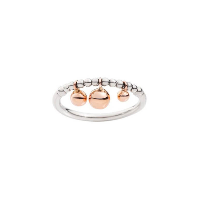 Dodo - Bollicine Silver ring with 375 rose gold spheres