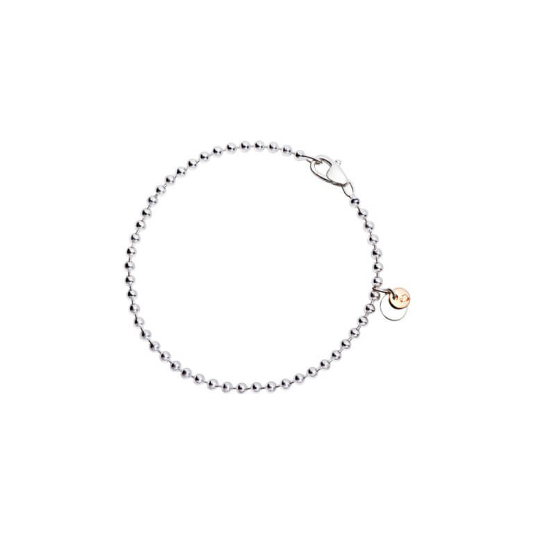 Dodo - Bollicine ball mesh bracelet in 925 silver with silver plate and 375 rose gold