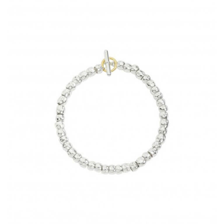 Dodo - Granelli bracelet in silver 925 with a split ring in 750 yellow gold