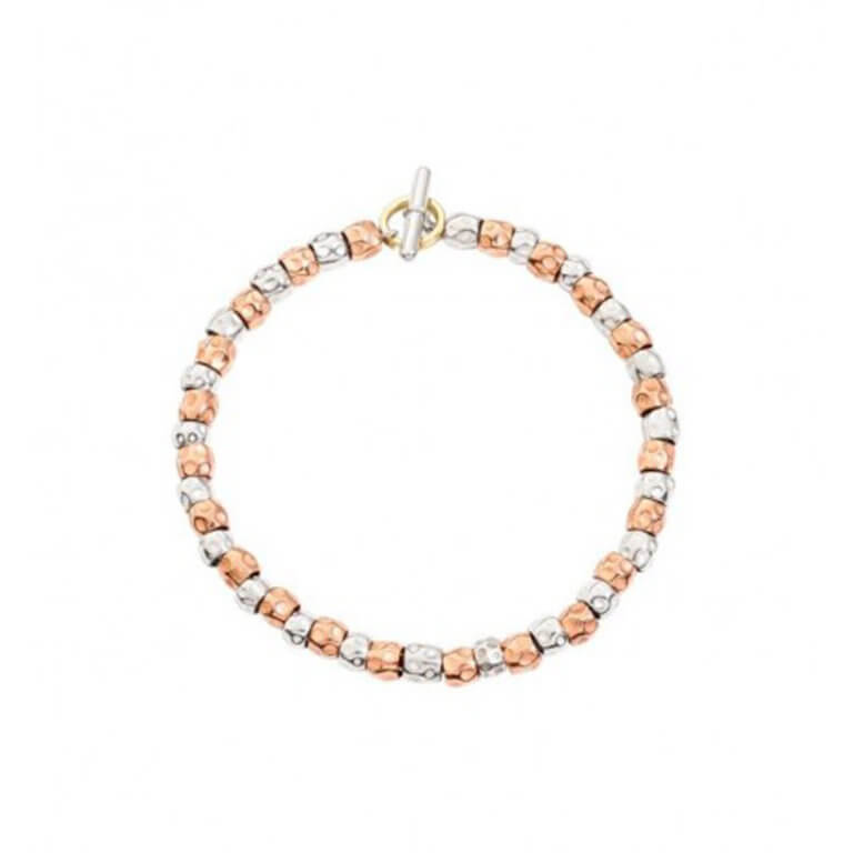 Dodo - Granelli bracelet grains silver 925 and pink gold 375 with a split ring in yellow gold 750