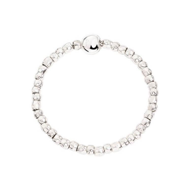 Dodo - Granelli bracelet grains et fermoir pepita en argent 925 avec anneau brisé en or rose 375