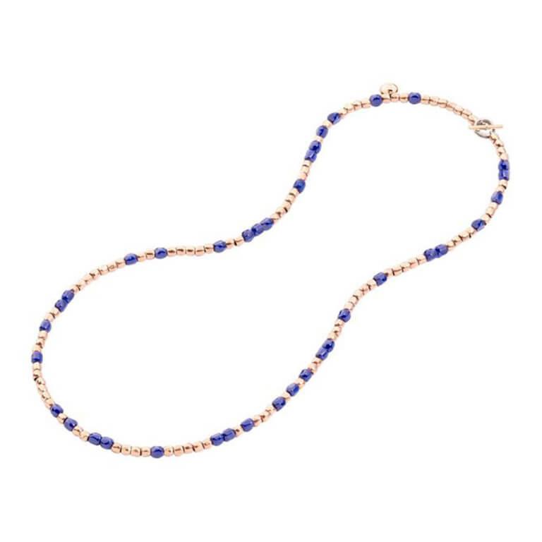 Dodo - Granelli mini grains necklace in 375 pink gold and blue ceramic