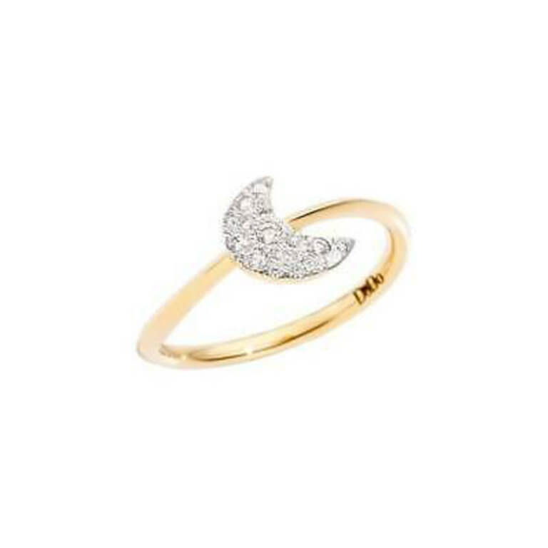 Dodo - Rêves large model ring in 750 yellow gold with moon motif set with diamonds