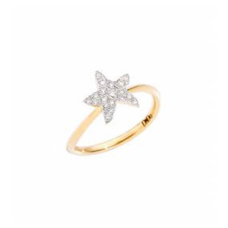 Dodo - Rêves large model ring in 750 yellow gold with star motif set with diamonds