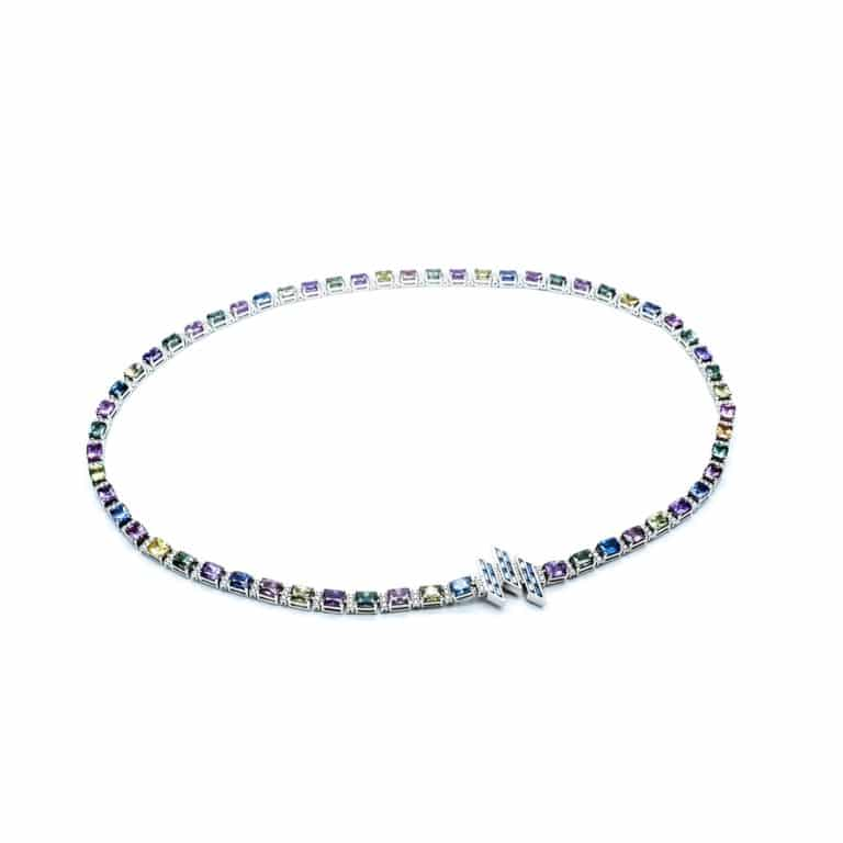 River necklace set with multicolored sapphires and diamonds