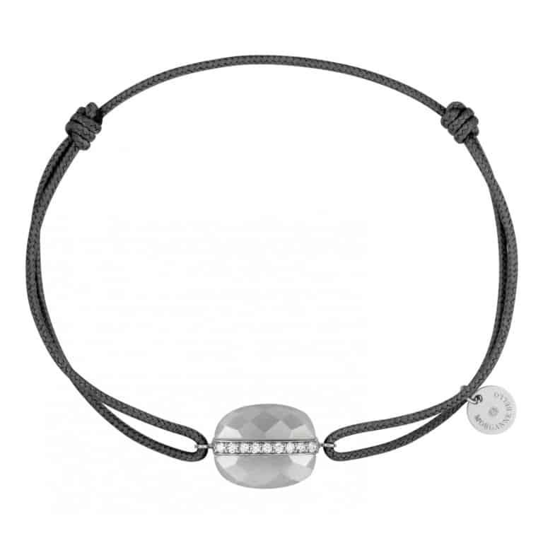 Morganne Bello - Aurore bracelet cordon gris, coussin pierre de lune sertie d'une barrette en or blanc de diamants
