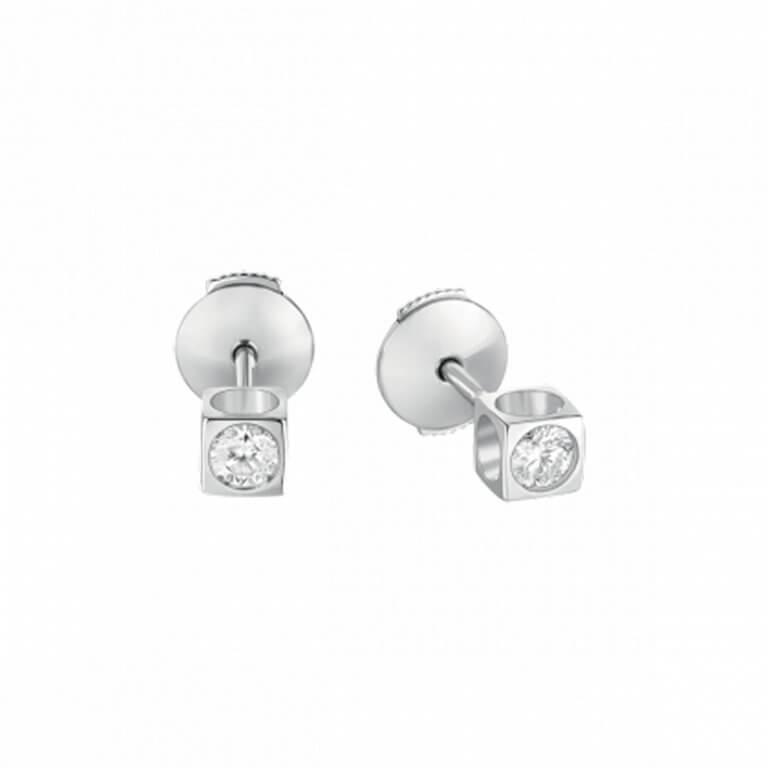 dinh van - Le Cube diamants clous d'oreilles avec système Alpa