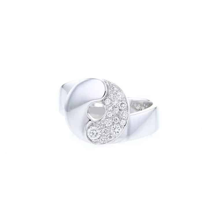 dinh van - Double sens bague en or blanc sertie de diamants