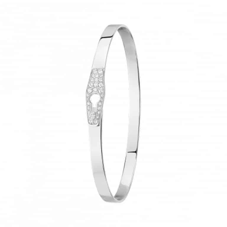 dinh van - Serrure bracelet rigide en r blanc fermoir serti de diamants