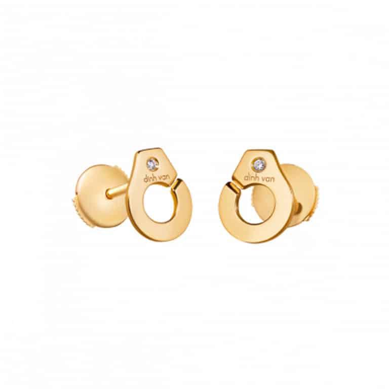 dinh van - Menottes puces d'oreilles en or jaune avec système Alpa