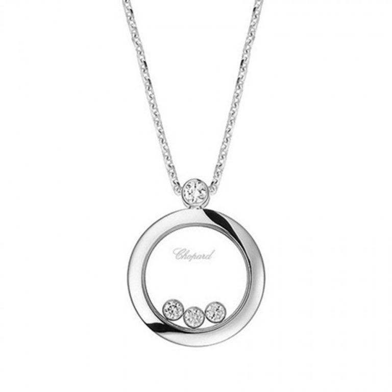 Chopard - Happy Diamonds Collier en or blanc avec pendentif rond