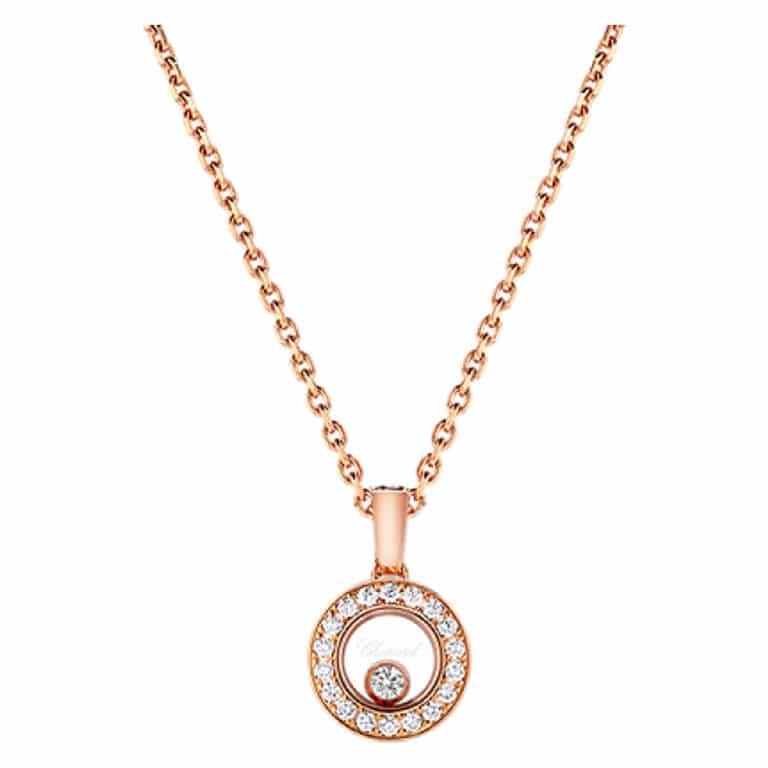 Chopard - Happy Diamonds collier en or rose avec pendentif rond