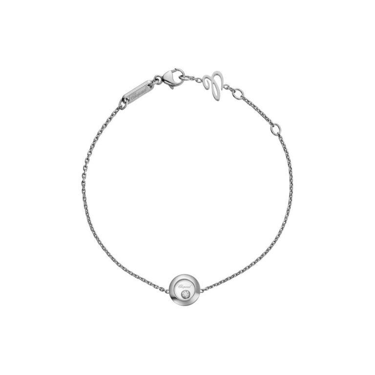Chopard - Happy Diamonds bracelet en or blanc avec pendentif rond