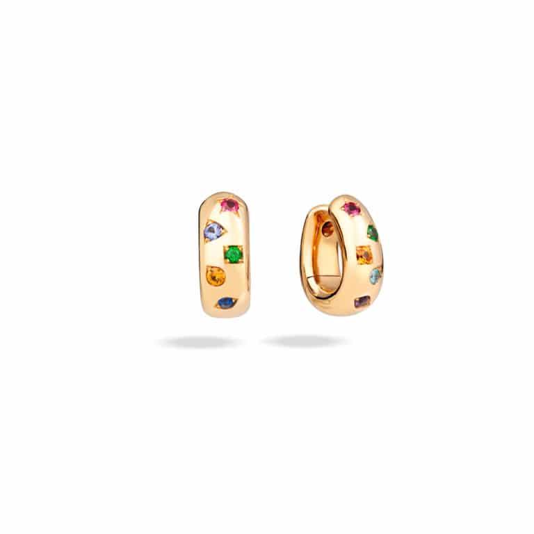 Pomellato - Iconica créoles en or rose sertie de 10 pierres de couleurs variées