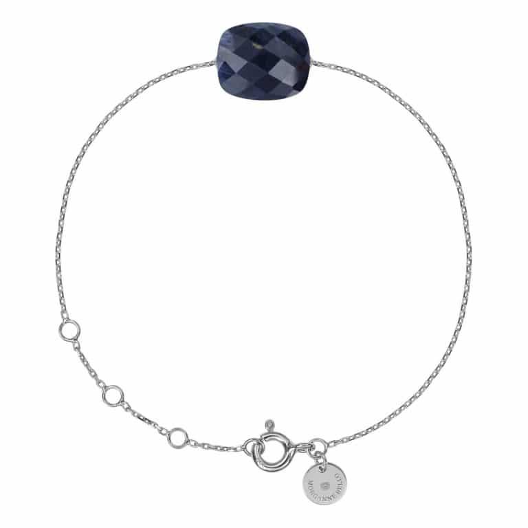 Morganne Bello - Friandise bracelet en or blanc 750 sur chaine maille forçat ronde et pietersite taille cousin
