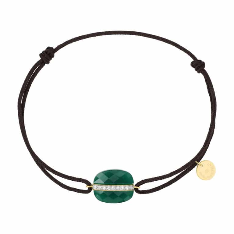 Morganne Bello - Aurore bracelet cordon chocolat et coussin agate verte et diamants