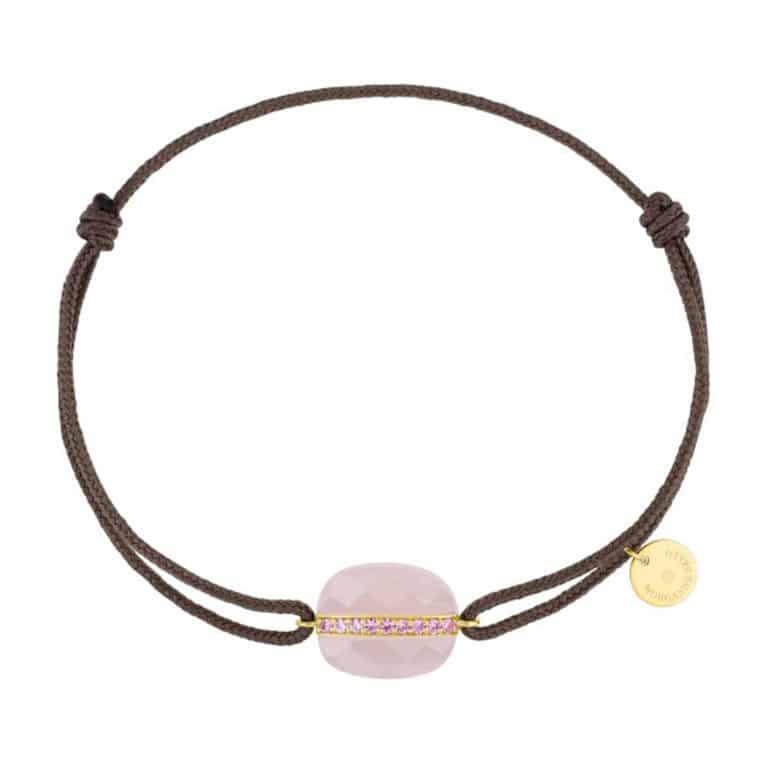 Morganne Bello - Aurore bracelet cordon taupe et coussin quartz rose et saphirs rose