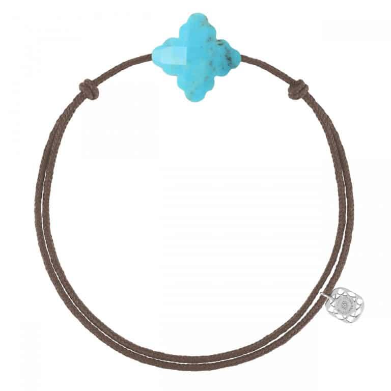 Morganne Bello - Baroque bracelet cordon taupe et turquoise