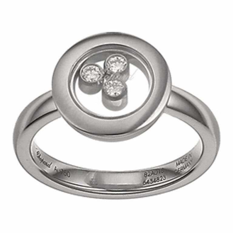 Chopard - Happy Diamonds bague en or blanc avec 3 diamants mobiles