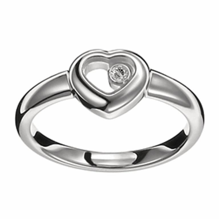 Chopard - Happy Diamonds bague en or blanc avec un diamant mobile